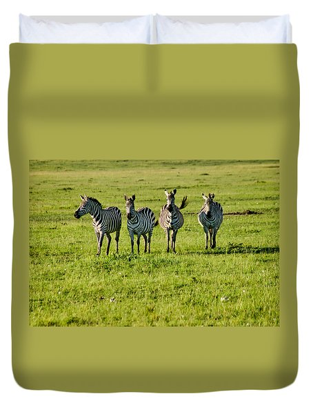 Four Zebras Duvet Cover