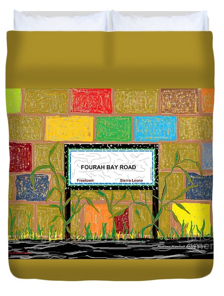 Duvet Cover featuring the digital art Fourah Bay Road by Mudiama Kammoh