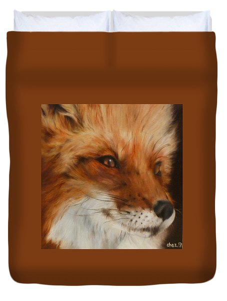 Duvet Cover featuring the painting FoX by Cherise Foster