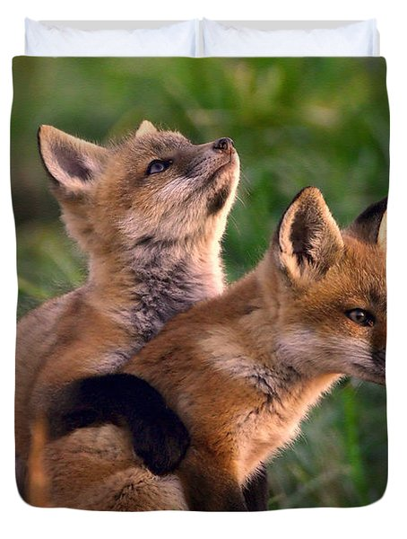 Fox Cub Buddies Duvet Cover