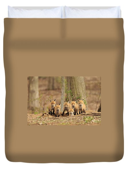 Fox Family Portrait Duvet Cover