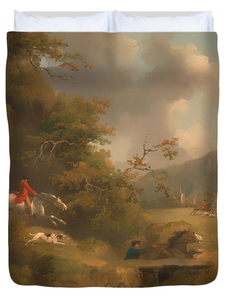Fox Hunting In Hilly Country Duvet Cover by Mountain Dreams