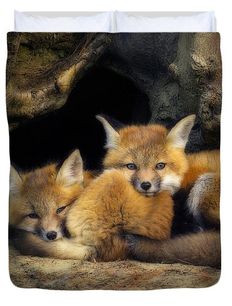 Best Friends - Fox Kits At Rest Duvet Cover by John Vose