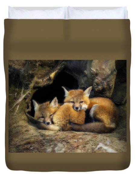 Best Friends - Fox Kits At Rest Duvet Cover