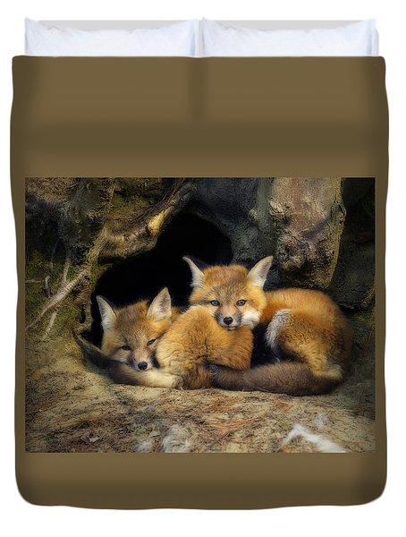 Best Friends - Fox Kits At Rest Duvet Cover
