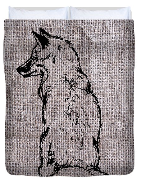 Fox On Burlap  Duvet Cover