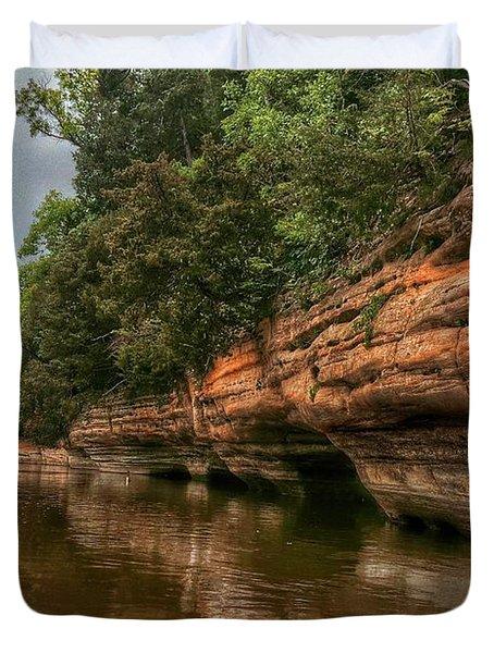 Fox River Sandstone Cliffs Duvet Cover