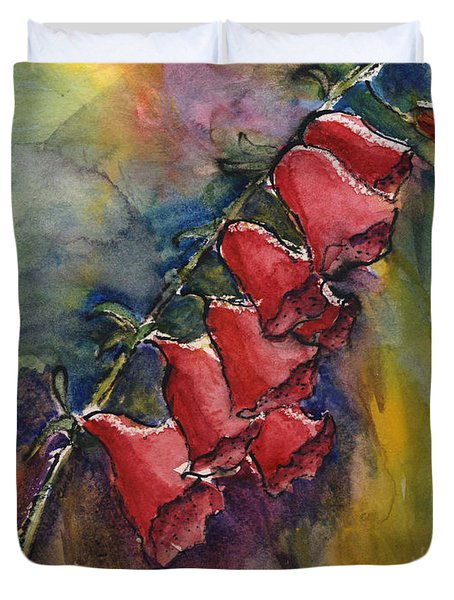 Duvet Cover featuring the painting Foxgloves by Linda Feinberg