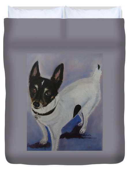 Duvet Cover featuring the painting Foxy by Sharon Schultz
