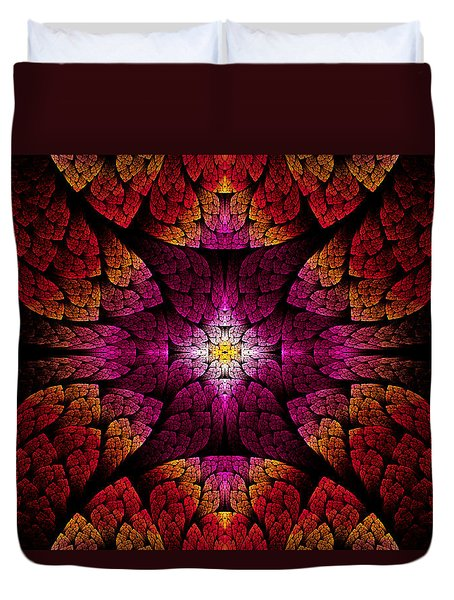Fractal - Aztec - The All Seeing Eye Duvet Cover by Mike Savad