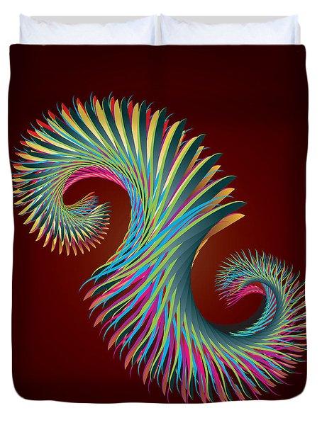 Fractal Feather Spiral Duvet Cover by Hakon Soreide