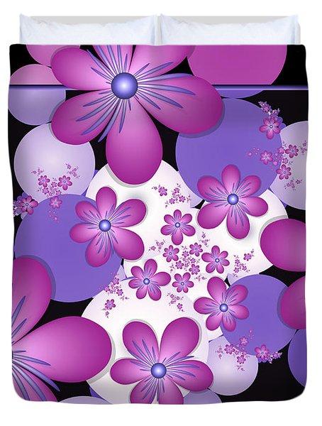 Fractal Flowers Modern Art Duvet Cover