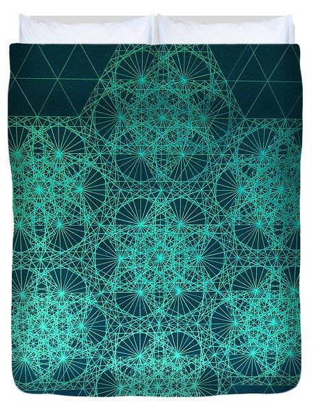 Duvet Cover featuring the drawing Fractal Interference by Jason Padgett