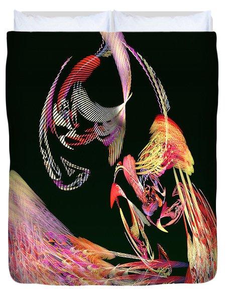 Fractal - Parrot Duvet Cover by Susan Savad