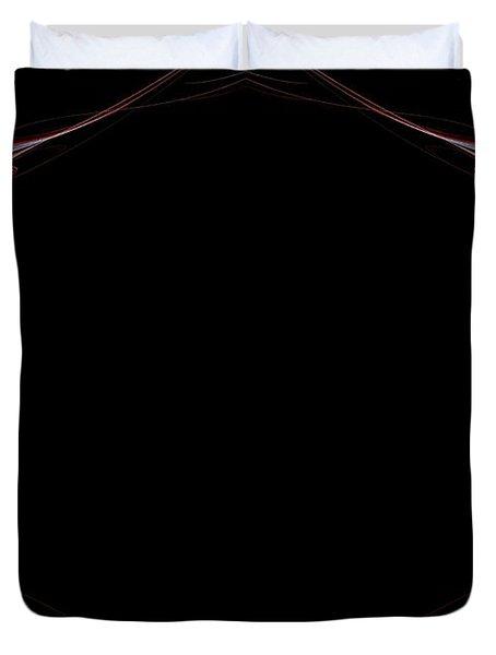 Duvet Cover featuring the digital art Fractal Red Frame by Henrik Lehnerer