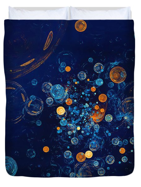 Fractal Soapbubbles - Abstract In Blue And Orange Duvet Cover