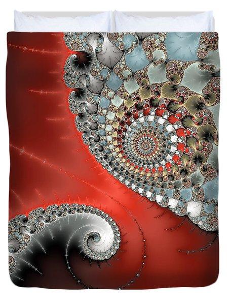 Fractal Spiral Art Red Grey And Light Blue Duvet Cover