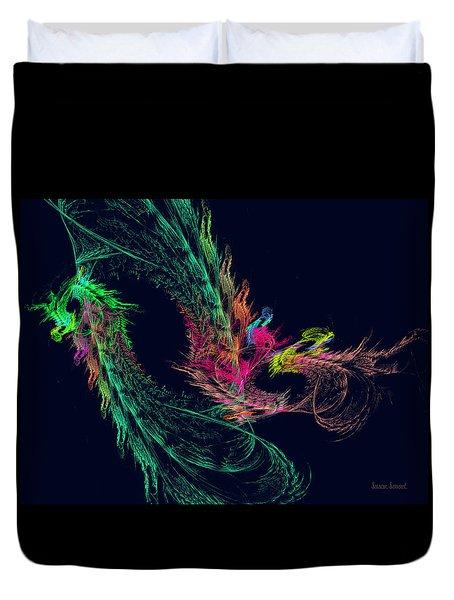 Fractal - Winged Dragon Duvet Cover by Susan Savad