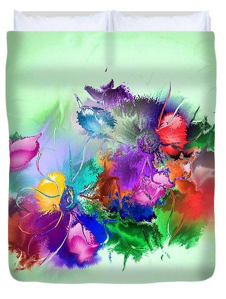 Fractured Bouquet 7 Duvet Cover by John Krakora