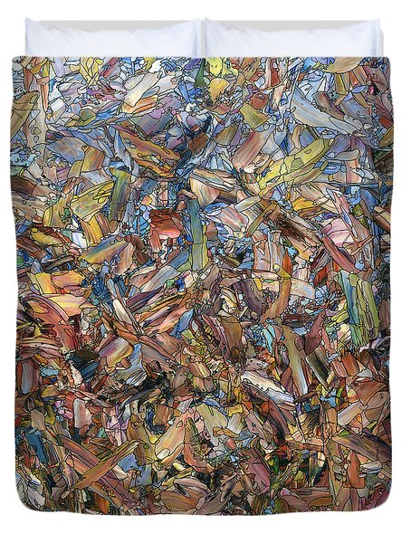 Duvet Cover featuring the painting Fragmented Fall - Square by James W Johnson