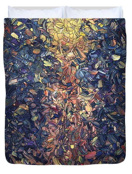 Duvet Cover featuring the painting Fragmented Flame by James W Johnson