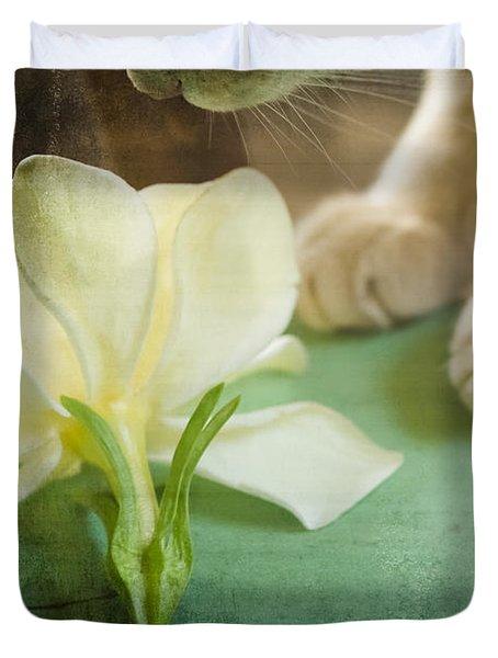 Fragrant Gardenia Duvet Cover