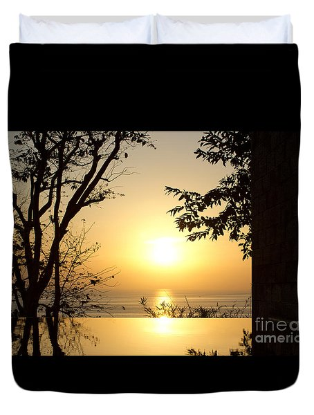 Framed Golden Sunset Duvet Cover
