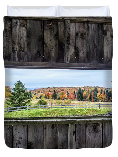 Framed-autumn In Vermont Duvet Cover