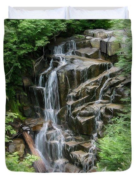 Framed Waterfalls On Mount Rainier Duvet Cover by John Haldane