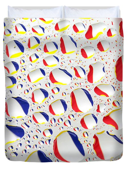 France Flag In Water Drops Duvet Cover