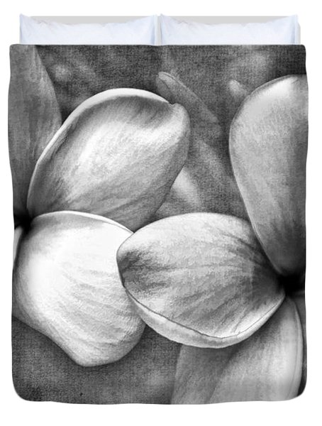 Frangipani In Black And White Duvet Cover by Peggy Hughes