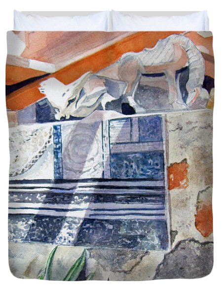 Duvet Cover featuring the painting Frank Lloyd Wright Taliesin West 2 by Carol Flagg