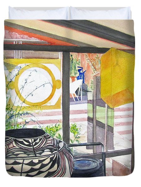 Duvet Cover featuring the painting Frank Lloyd Wright Taliesin West by Carol Flagg