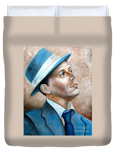 Duvet Cover featuring the painting Frank Sinatra Ol Blue Eyes by Patrice Torrillo