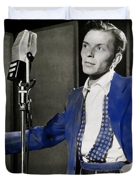 Duvet Cover featuring the photograph Frank Sinatra - Old Blue Eyes by Ericamaxine Price
