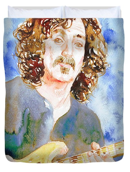 Frank Zappa Playing The Guitar Watercolor Portrait Duvet Cover