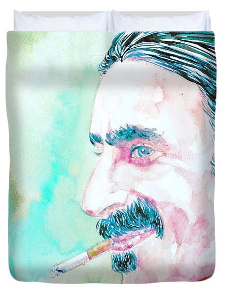 Frank Zappa Smoking A Cigarette Watercolor Portrait Duvet Cover