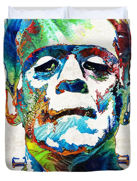 Frankenstein Art - Colorful Monster - By Sharon Cummings Duvet Cover