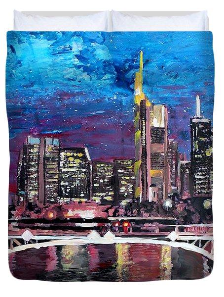 Frankfurt Main Germany - Mainhattan Skyline Duvet Cover by M Bleichner