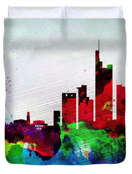 Frankfurt Watercolor Skyline Duvet Cover