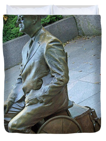 Franklin Delano Roosevelt In A Wheelchair Duvet Cover by Cora Wandel