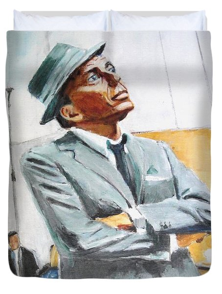 Duvet Cover featuring the painting Frankly Speaking by Judy Kay