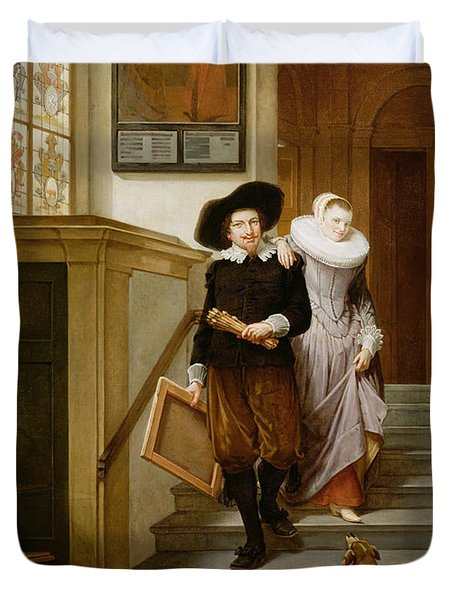 Frans Hals And His Wife Lysbeth Duvet Cover