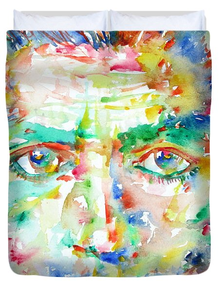 Franz Kafka Watercolor Portrait Duvet Cover by Fabrizio Cassetta