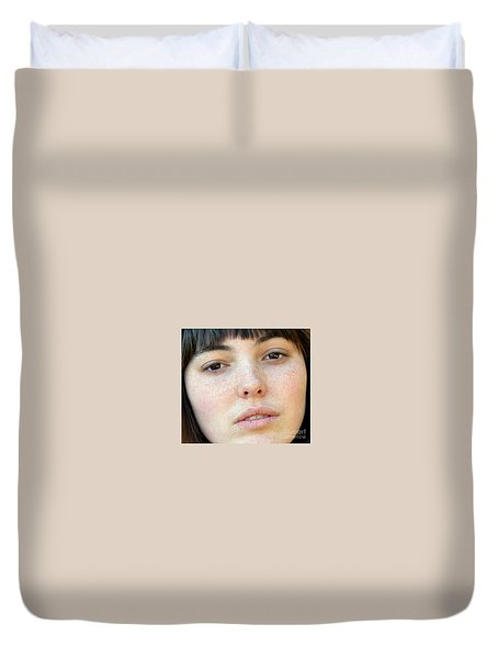 Duvet Cover featuring the photograph Freckle Faced Beauty Model Closeup by Jim Fitzpatrick