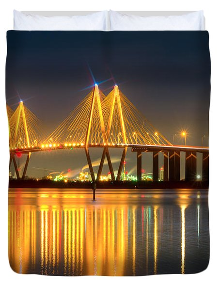 Fred Hartman Bridge At Night Duvet Cover
