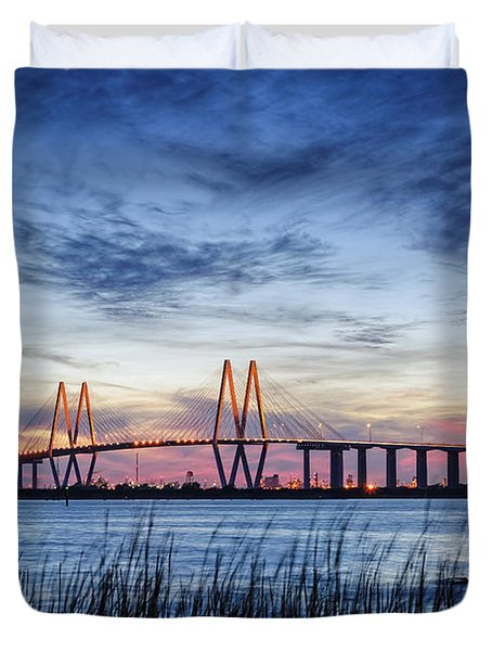 Fred Hartman Bridge At Twilight Hour Duvet Cover