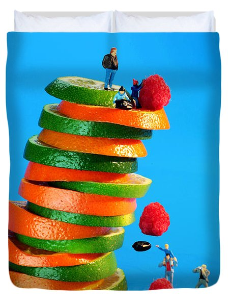 Free Falling Bodies Experiment On Fruit Tower Duvet Cover by Paul Ge