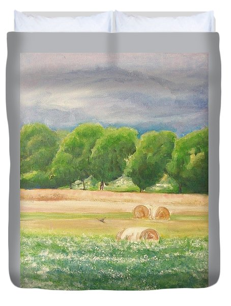 Duvet Cover featuring the painting Freedom by Jane  See