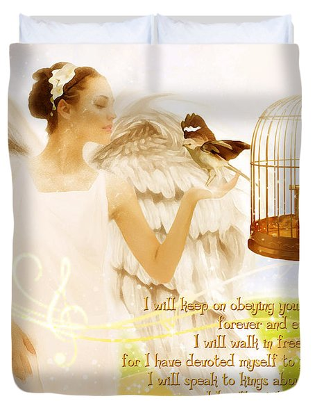 Freedom Song With Scripture Duvet Cover